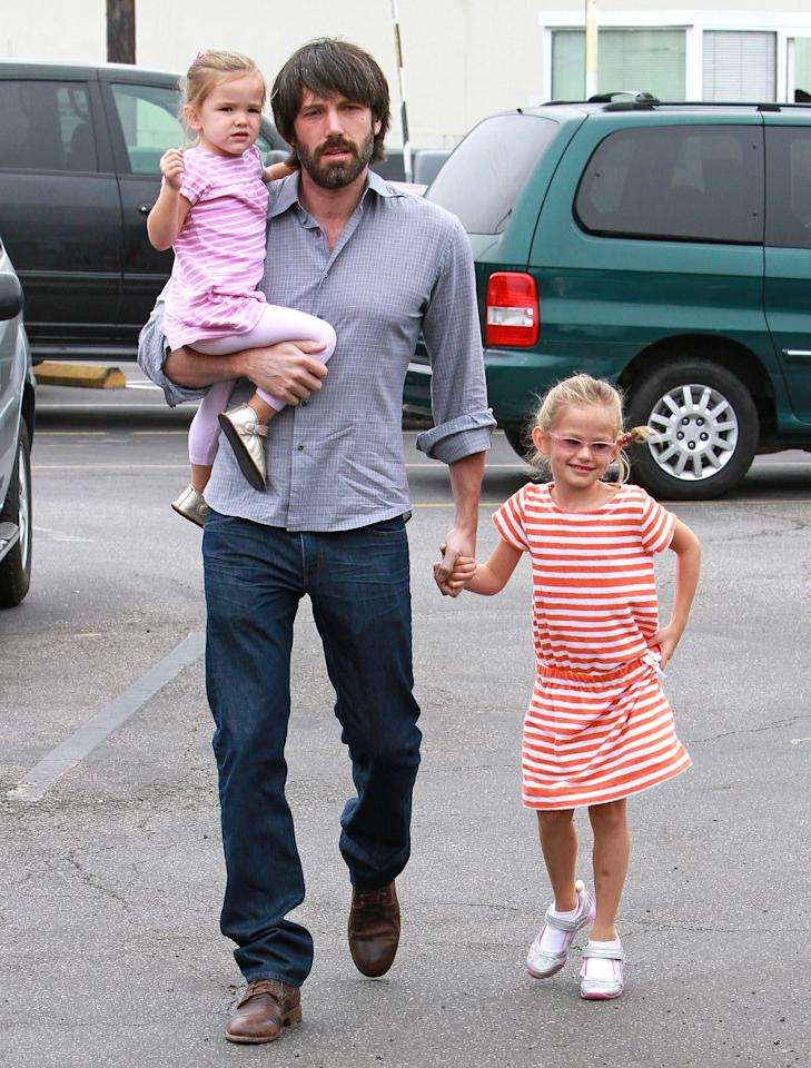 Ben Affleck, Violet Affleck and Seraphina Affleck are seen on October 23, 2011 in Los Angeles, California. (Photo by JB Lacroix/WireImage)