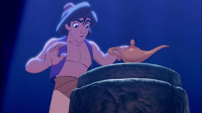 """<p>The Arabian folktale gave us one of the Disney canon's greatest love songs, """"A Whole New World,"""" but the biggest mark it made was casting Robin Williams as the Genie. He was such a hit in the role that it <a href=""""https://editorial.rottentomatoes.com/article/how-robin-williams-genie-in-disneys-aladdin-changed-animated-comedy-forever/"""" rel=""""nofollow noopener"""" target=""""_blank"""" data-ylk=""""slk:disrupted the way"""" class=""""link rapid-noclick-resp"""">disrupted the way</a> the animation industry chose actors and sold films, phasing out voice thespians in favor of marquee names.</p>"""