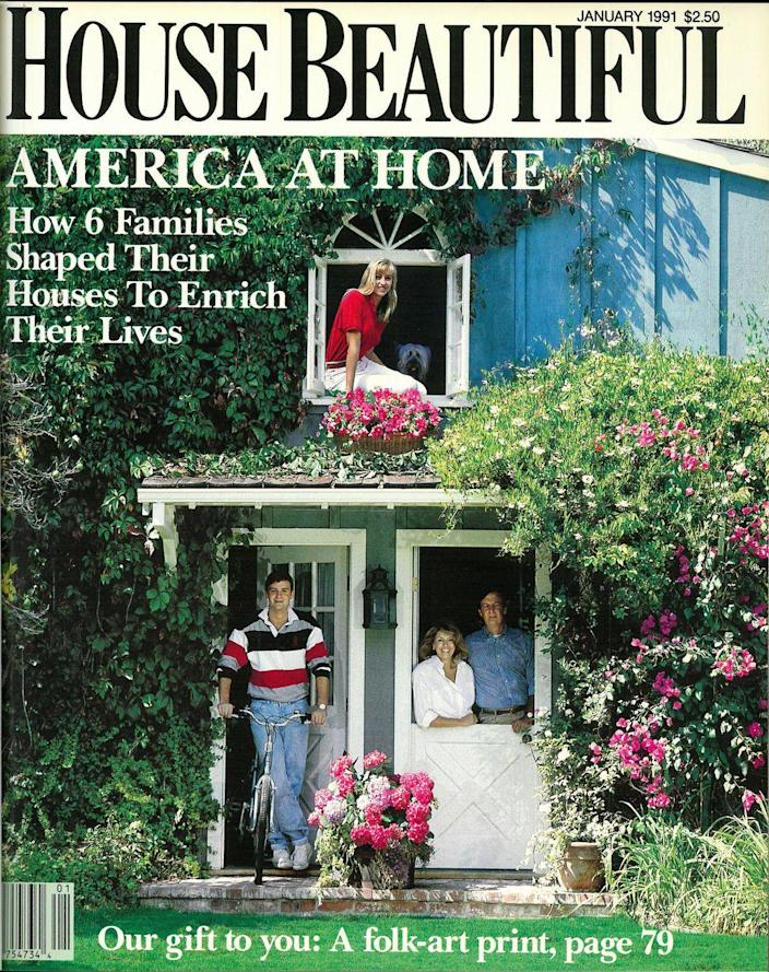 <p>In earlier years, there was a bit more variety from the standard interior shots readers have come to love. Instead, you saw photos of families and home exteriors, like this January 1991 issue.</p>