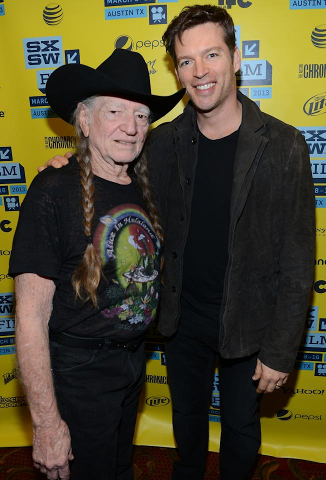 "AUSTIN, TX - MARCH 10:  Musicians Willie Nelson (L) and Harry Connick Jr. attend the screening of ""When Angels Sing"" during the 2013 Music, Film + Interactive Festival  at the Paramount Theatre on March 10, 2013 in Austin, Texas.  (Photo by Michael Buckner/Getty Images for SXSW)"