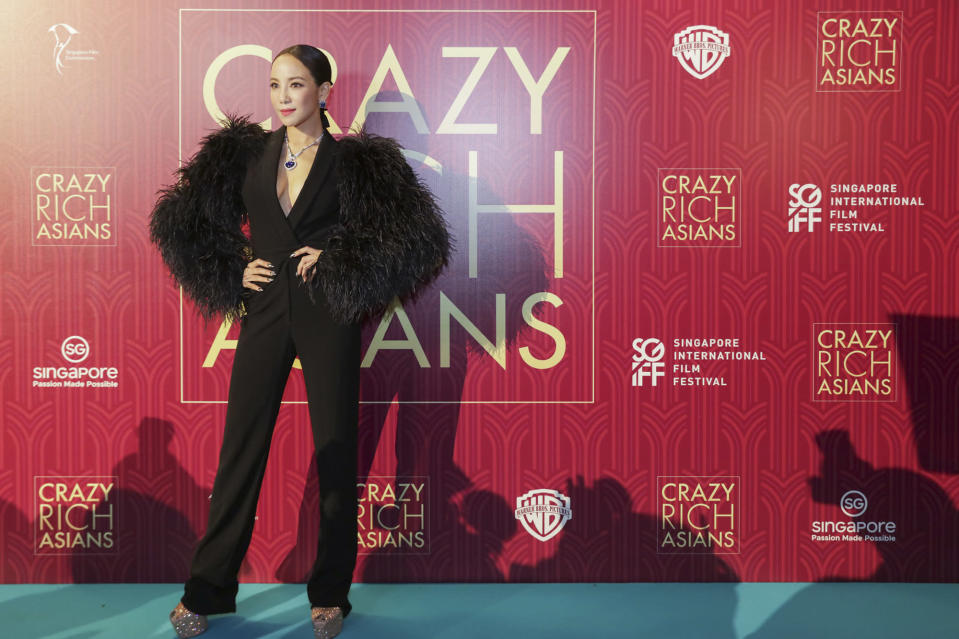 <p>Singaporean actress Fiona Xie poses for photographers at the Singapore premiere of 'Crazy Rich Asians' on 21 August 2018. (PHOTO: Yahoo Lifestyle Singapore) </p>