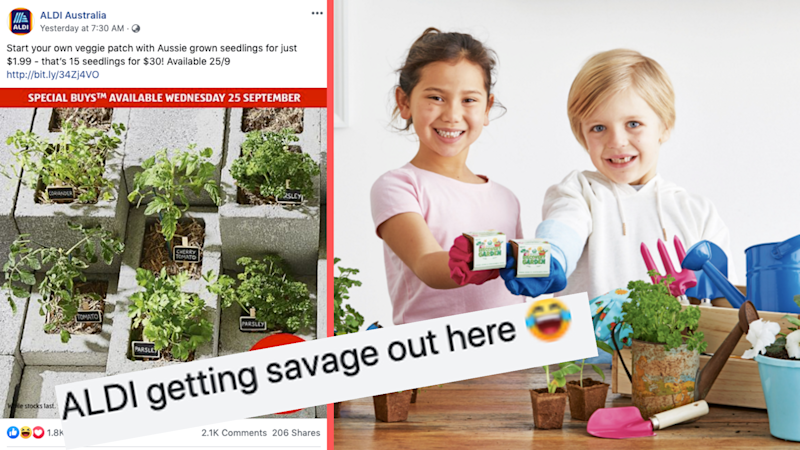 Pictured: Aldi's latest Special Buys has plants for sale, and happy children with Woolworths' Discovery Garden promotion. Images: Aldi, Woolworths, Facebook