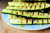 """<p>There's nothing like veggies with grill marks, and these zucchini do <em>not </em>disappoint.</p><p><strong><a href=""""https://thepioneerwoman.com/cooking/grilled-zucchini-with-yummy-lemon-salt/"""" rel=""""nofollow noopener"""" target=""""_blank"""" data-ylk=""""slk:Get the recipe."""" class=""""link rapid-noclick-resp"""">Get the recipe.</a></strong></p><p><a class=""""link rapid-noclick-resp"""" href=""""https://go.redirectingat.com?id=74968X1596630&url=https%3A%2F%2Fwww.walmart.com%2Fip%2FThe-Pioneer-Woman-Timeless-Pre-Seasoned-Plus-10-25-Cast-Iron-Grill-Pan%2F137034757&sref=https%3A%2F%2Fwww.thepioneerwoman.com%2Ffood-cooking%2Fmeals-menus%2Fg32188535%2Fbest-grilling-recipes%2F"""" rel=""""nofollow noopener"""" target=""""_blank"""" data-ylk=""""slk:SHOP PRE-SEASONED GRILL PANS"""">SHOP PRE-SEASONED GRILL PANS</a> </p>"""