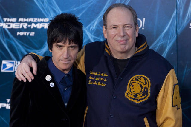 Johnny Marr and Hans Zimmer attend 'The Amazing Spider-Man 2' New York Premiere ath the Ziegfeld Theatre in New York City. © LAN (Photo by Lars Niki/Corbis via Getty Images)