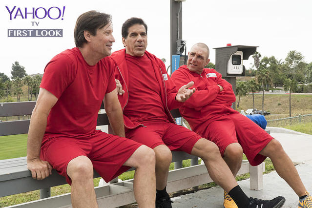 <p>Team Sci-Fi/Fantasy Sorbo, Ferrigno, and Jones swap stories on the sidelines between challenges.<br><br>(Photo Credit: Byron Cohen/ABC) </p>