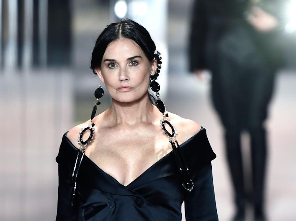 <p>Demi Moore makes surprise runway appearance at Paris Haute Couture Fashion Week.</p> (Getty Images)