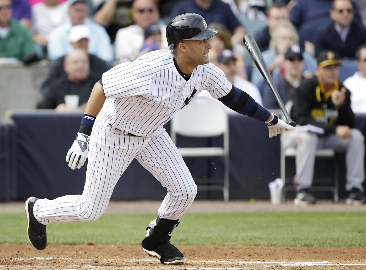 New York Yankees shortstop Derek Jeter grounds out during the fourth inning of an exhibition baseball game against the Pittsburgh Pirates Thursday, Feb. 27, 2014, in Tampa, Fla. (AP Photo/Charlie Neibergall)