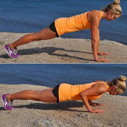 <p><em>Reps: 10</em><br /><br />Place hands directly below shoulders, feet hip-width apart. Keeping elbows pointed back and as close to your sides as possible, slowly lower body to the ground. Once your chest touches the floor, press back up to a straight-arm plank. Be sure to keep core and legs engaged the entire time. If this is too challenging, modify by dropping down to your knees. Do 10 reps.<br /><br />Triceps Extension</p>