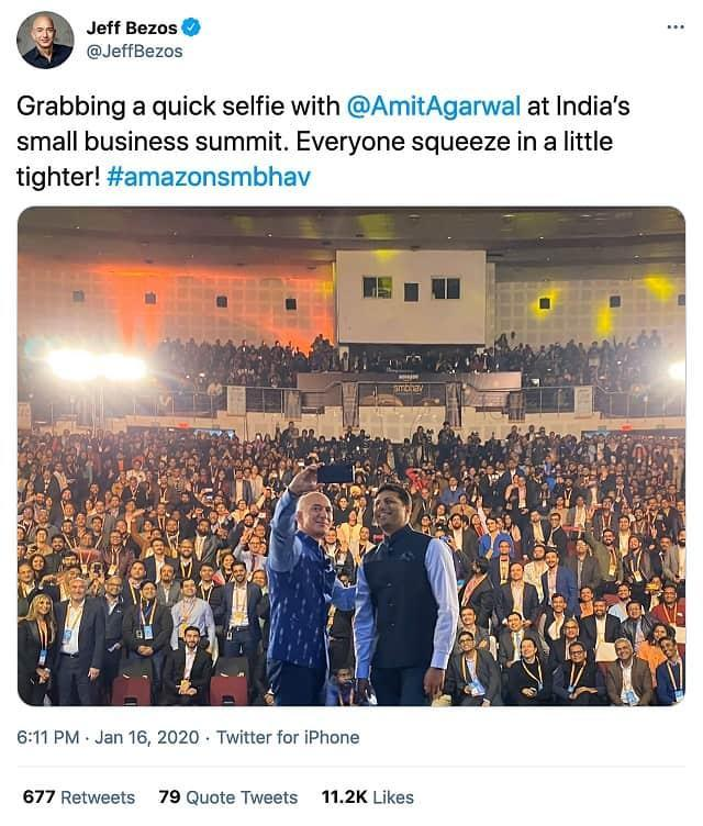During his visit to India in January last year, Amazon founder Jeff Bezos tweeted a picture of himself taking a selfie with Amit Agarwal, the company's India head, at an event with small businesses. Source: Twitter screenshot via REUTERS