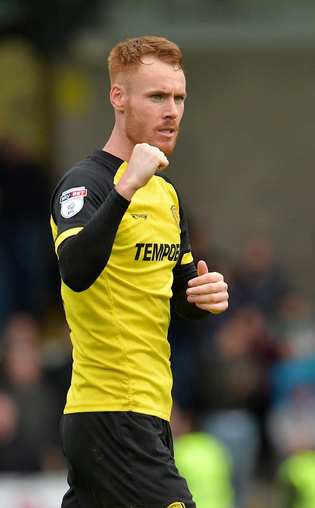"Soccer Football - Championship - Burton Albion vs Bolton Wanderers - Pirelli Stadium, Burton, Britain - April 28, 2018 Burton Albion's Tom Naylor celebrates at full time Action Images/Paul Burrows EDITORIAL USE ONLY. No use with unauthorized audio, video, data, fixture lists, club/league logos or ""live"" services. Online in-match use limited to 75 images, no video emulation. No use in betting, games or single club/league/player publications. Please contact your account representative for further details."