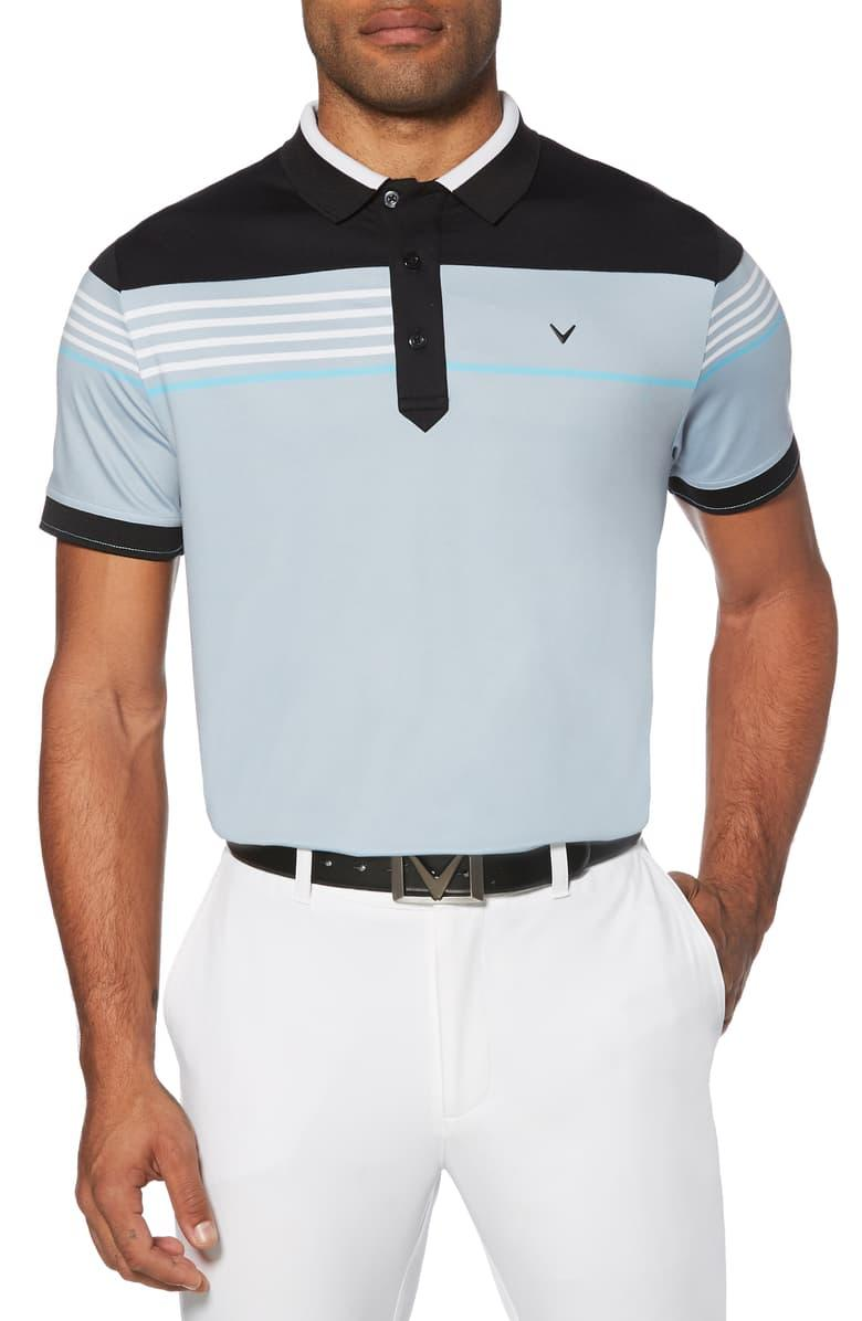 Asymmetrical Performance Polo in Dusty Blue. Image via Nordstrom.