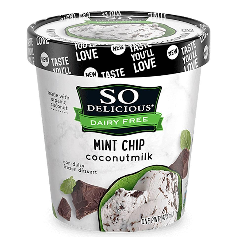 "<p>""So Delicious makes some of the best dairy-free ice creams out there. I love the mint chip flavor, which is made with coconut milk - but it is pretty coconutty so you have to be on board with that taste. It's light and refreshing, and the texture of the thin chocolate flakes is great."" - Erin Cullum, editor, Trending and Viral Features</p>"