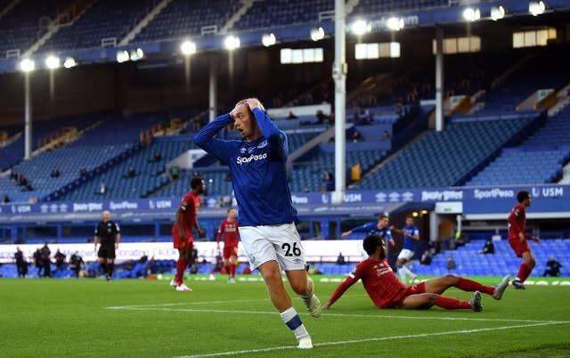 Everton's Tom Davies was frustrated by the post (PA)