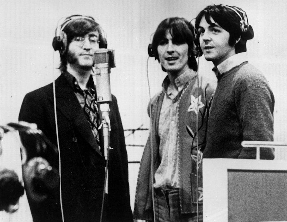 A day in the life: John Lennon, George Harrison and Paul McCartney in the studio (Getty)