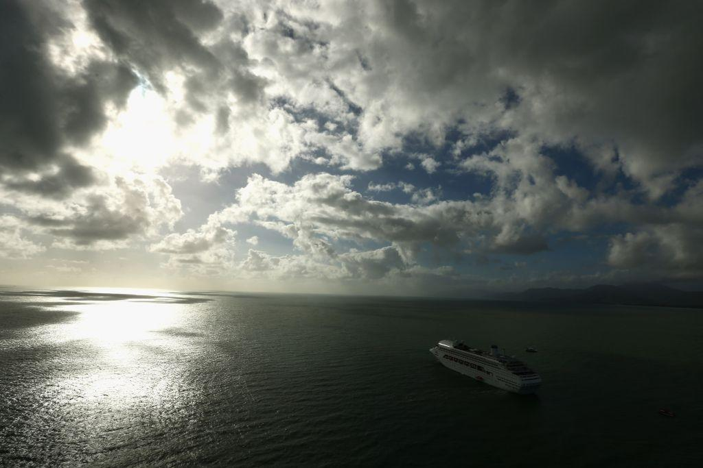 A cruise ship is seen in place off Port Douglas for passengers to watch the total eclipse on November 14, 2012 in Cairns, Australia.