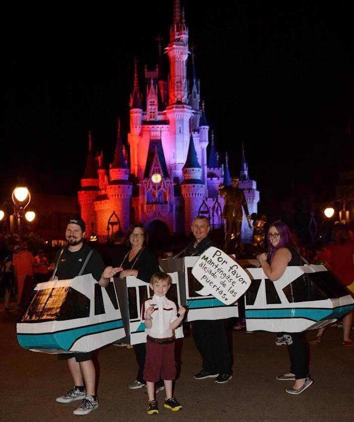 Disney fan Tifni and her family dress as a Monorail.