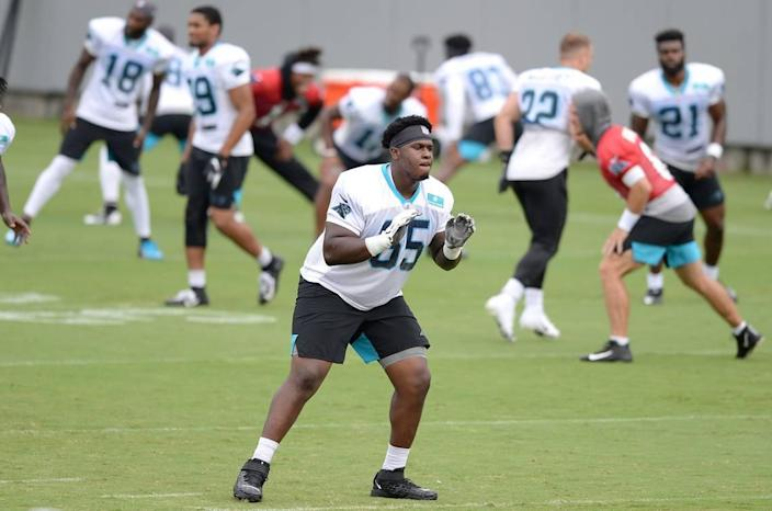 Carolina Panthers tackle Dennis Daley during practice on Tuesday, August 20, 2019 in Charlotte, NC.