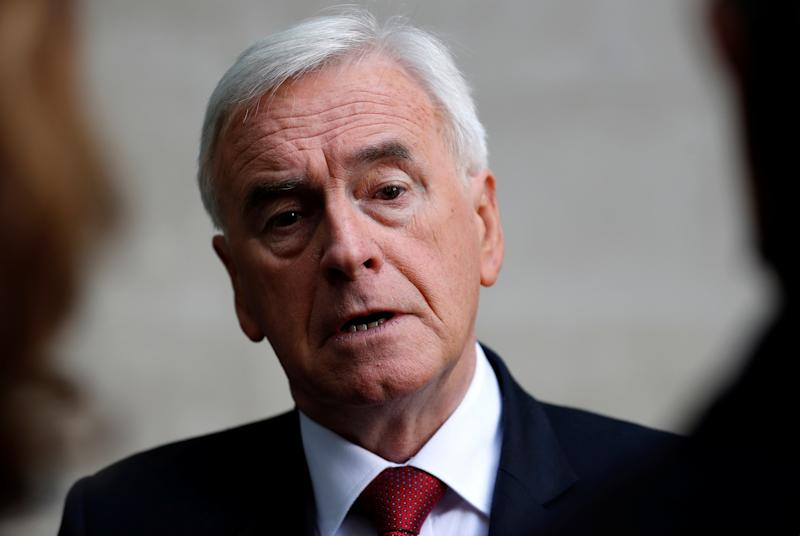 British Labour MP John McDonnell is seen as he leaves the BBC studios in London, Britain September 8, 2019. REUTERS/Peter Nicholls