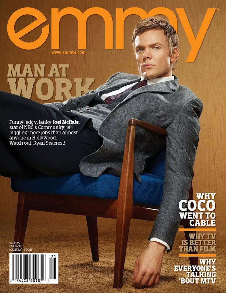 """<a href=""/community/show/44719"">Community</a>"" star <a href=""/joel-mchale/contributor/705643"">Joel McHale</a> appears on the cover of Emmy magazine's latest issue, on newsstands now. Click through this slideshow to see all of McHale's photos inside the magazine and what he had to share."