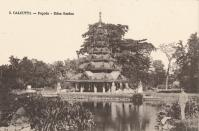 Calcutta - Pagoda - Eden Garden', circa 1900. Eden Gardens, Calcutta, India, constructed in 1834 and named after Emily and Fanny Eden, the sisters of Lord Auckland, the Governor General of India from 1836-1842. In 1840, Eden Gardens were formally opened to the public, the Pagoda was brought from Prome, Burma by Lord Dalhousie and erected in the gardens in 1854. The gardens are now home to the Calcutta Cricket Club. [Art Union, Calcutta, circa 1900]. Artist: Unknown. (Photo by The Print Collector/Getty Images)