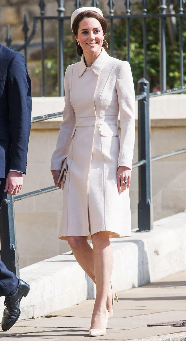 The Duchess of Cambridge stole the show in a cream Catherine Walker coat and matching hat at the royal family's Easter Day service.