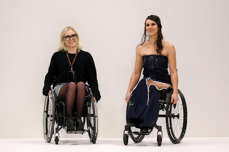 Disabled models took to the catwalk for Louise Linderoth's Swedish School of Textiles collection [Photo: Getty]
