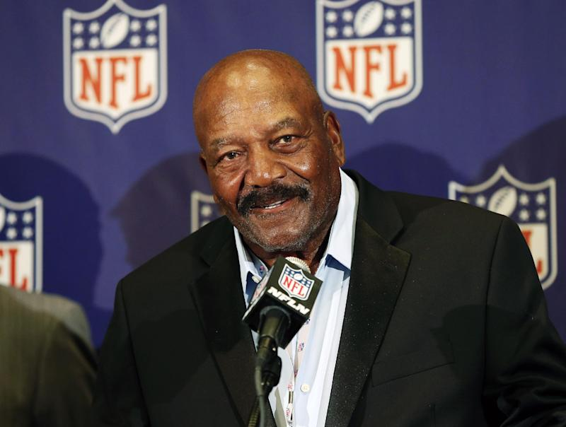 FILE - In this March 18, 2013 file photo, former Cleveland Brown Hall of Famer  Jim Brown speaks during an NFL football news conference in Phoenix. Brown is rejoining the Browns in an official capacity.The former star running back will have an unspecified job with the Browns, the NFL team he played for from 1957-65. Browns owner Jimmy Haslam will introduce Brown during a news conference Wednesday. May 29, 2013 at FirstEnergy Stadium. (AP Photo/Matt York, File)