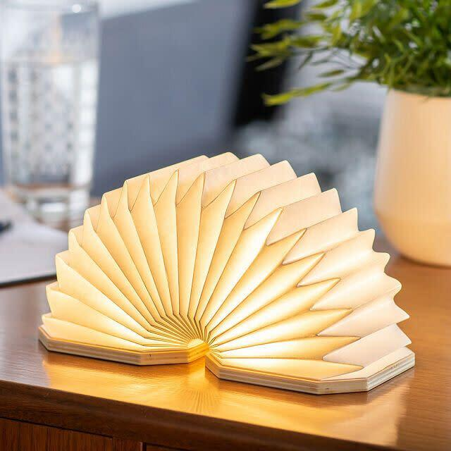 """If you're a creative who craves a lamp that isn't like the others, you could get this sculptural one that's shaped like an accordion. It can be compressed down when you're not using it and pressed up when you need it. This lamp uses a micro usb charging cable, which is included. <a href=""""https://fave.co/35Rpsl5"""" rel=""""nofollow noopener"""" target=""""_blank"""" data-ylk=""""slk:Find it for $69 at Uncommon Goods"""" class=""""link rapid-noclick-resp"""">Find it for $69 at Uncommon Goods</a>."""