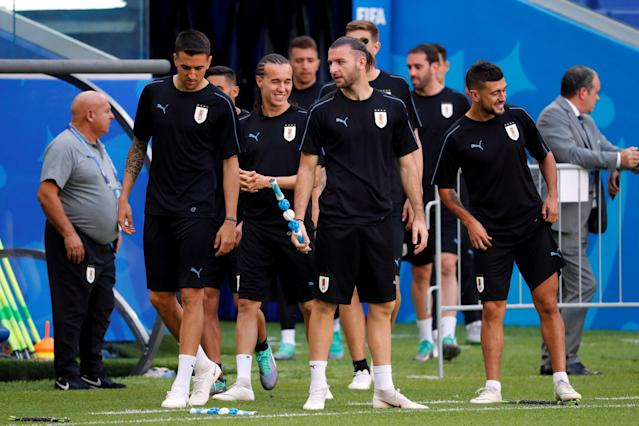 Soccer Football - World Cup - Uruguay Training - Samara Arena, Samara, Russia - June 24, 2018 Uruguay players during training REUTERS/David Gray