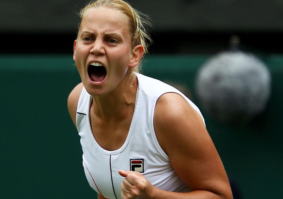 Jelena Dokic, pictured here in action at Wimbledon in 2011.