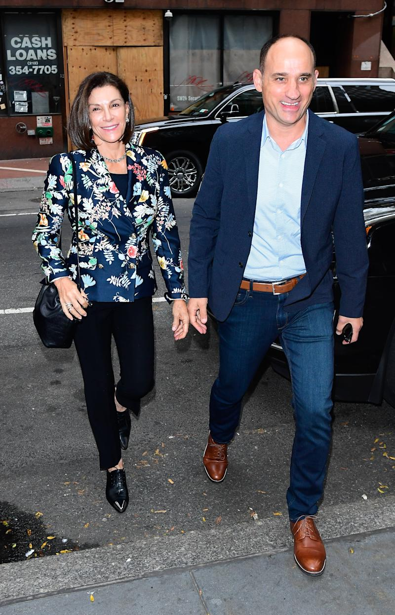 NEW YORK, NY - SEPTEMBER 16: Hilary Farr and David Visentin are seen outside the Today show on September 16, 2019 in New York City. (Photo by Raymond Hall/GC Images)