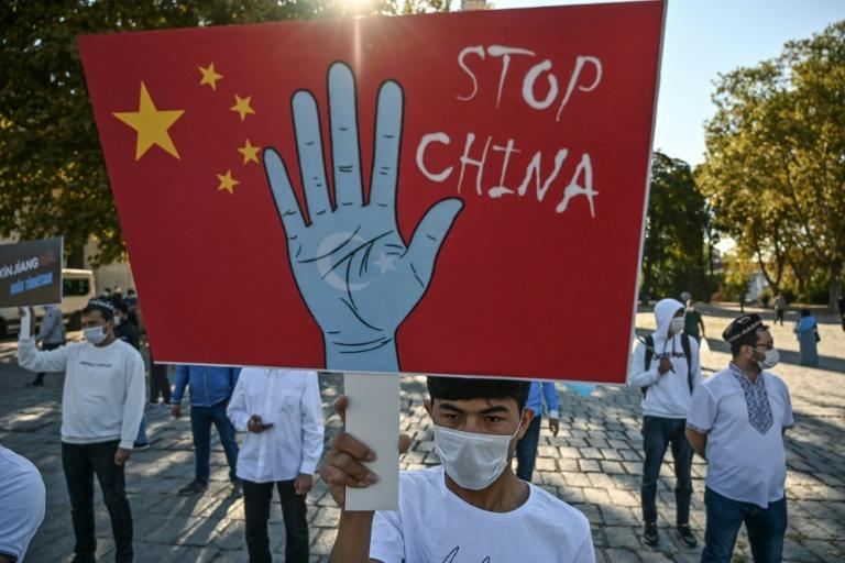 Supporters of China's Uighur minority hold a demonstration in Istanbul on October 1, 2020
