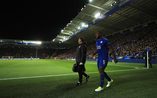 <span>O captain: the crowd gave Wes Morgan all their sympathy when he had to come off injured</span> <span>Credit: Getty </span>