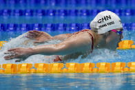 Zhang Yufei, of China, swims in the women's 200-meter butterfly final at the 2020 Summer Olympics, Thursday, July 29, 2021, in Tokyo, Japan. (AP Photo/Charlie Riedel)