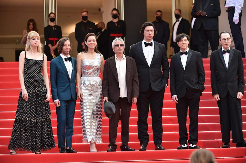 Angele, Simon Helberg, Marion Cotillard, director Leos Carax, Adam Driver, Ron Mael and Russel Mael attend the 'Annette' screening and opening ceremony during the 74th annual Cannes Film Festival on July 6, 2021 in Cannes, France