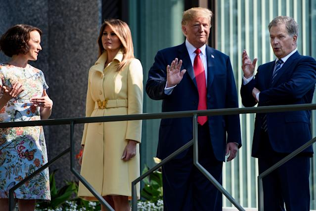<p>Melania joined her husband for his trip to Helsinki to meet Finnish President Sauli Niinisto and his wife, poet Jenni Haukio, opting for a lemon yellow Gucci coat costing £2,786.<br>[Photo: Getty] </p>