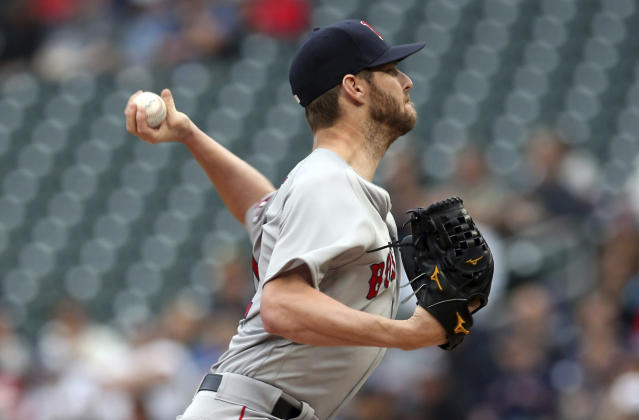Boston Red Sox pitcher Chris Sale throws to a Minnesota Twins batter during the first inning of a baseball game Tuesday, June 19, 2018, in Minneapolis. (AP Photo/Jim Mone)