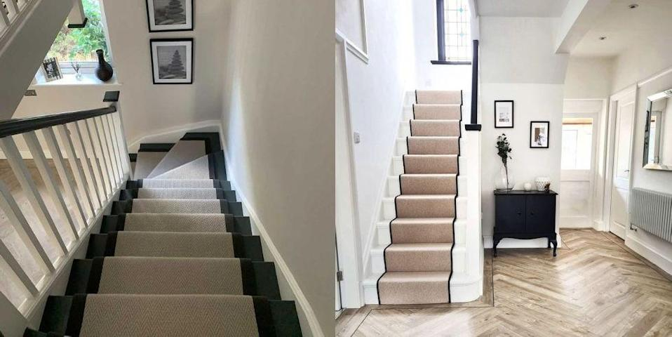"""<p><strong>Looking for stair carpets and runners to transform your staircase? From stripes to classic beige, give</strong><strong> your <a href=""""https://www.housebeautiful.com/uk/decorate/hallway/a2283/hallway-decorating-ideas-tips/"""" rel=""""nofollow noopener"""" target=""""_blank"""" data-ylk=""""slk:hallway"""" class=""""link rapid-noclick-resp"""">hallway</a> the five-star treatment with a new carpet. </strong> </p><p>Carpets work wonders on stairs, providing soft and spongy comfort underfoot. Whether you want to make a design statement or prefer a pared-back neutral look, or you've set your heart on a grey stair carpet over a patterned stair carpet, we've got stylish suggestions to suit every interior style and budget. </p><h4 class=""""body-h4"""">What is the best carpet for stairs? </h4><p>Stairs are a high-traffic area, so it's crucial the carpet covering them is durable to withstand its activity levels. When it comes to the best stair carpet material, synthetic nylon carpet may be your best bet for safety and strength, while wool is also a good option as its fibres repel stains and dirt (although it's more expensive). Meanwhile, berber carpets are an incredibly durable choice for staircases as they are made from loops instead of strands. </p><p>'A stairway is often the first thing your guests see as they step inside your home and can completely set the tone for your personal interior style,' says Jess Contomichalos, Interior Stylist at <a href=""""https://www.cormarcarpets.co.uk/"""" rel=""""nofollow noopener"""" target=""""_blank"""" data-ylk=""""slk:Cormar Carpets"""" class=""""link rapid-noclick-resp"""">Cormar Carpets</a>.</p><h4 class=""""body-h4"""">Full stair carpets or a stair runner carpet?</h4><p>As well as all-over carpet, a modern stair runner is another great way to transform a simple staircase. 'A runner is an excellent way of updating your staircase without breaking the bank,' says Myles Shaw, Managing Director from <a href=""""https://www.runrug.com/"""" rel=""""nofollow noopener"""" target=""""_blank"""" data-ylk=""""slk:runru"""