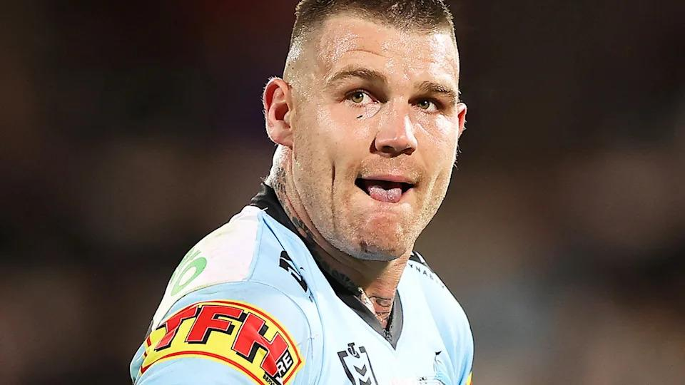 Pictured here, Cronulla's Josh Dugan during an NRL game for the Sharks.