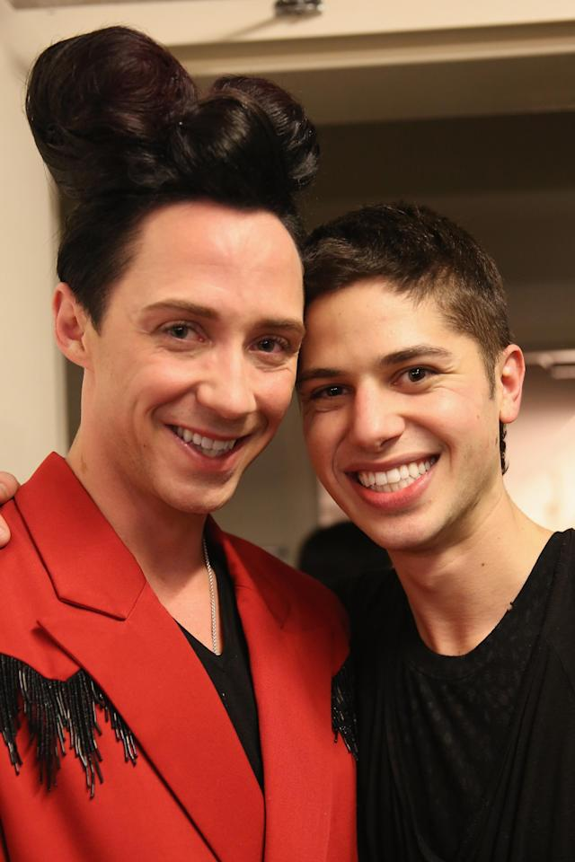 NEW YORK, NY - FEBRUARY 12: (L-R) Figure skater Johnny Weir and Asher Levine attend the Asher Levine Fall 2013 fashion show during Mercedes-Benz Fashion Week at at Manhattan Movement & Arts Center on February 12, 2013 in New York City. (Photo by Chelsea Lauren/Getty Images for Asher Levine)
