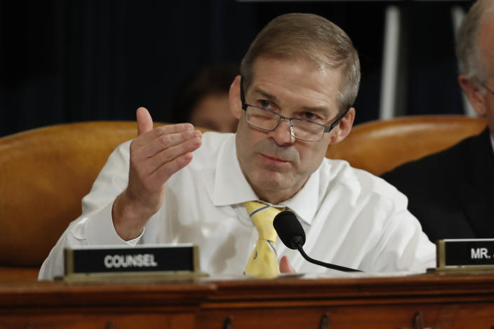 Rep. Jim Jordan, R-Ohio, questions former Ambassador to Ukraine Marie Yovanovitch as she testifies before the House Intelligence Committee on Capitol Hill in Washington, Friday, Nov. 15, 2019, during the second public impeachment hearing of President Donald Trump's efforts to tie U.S. aid for Ukraine to investigations of his political opponents. (Photo: Alex Brandon/AP)