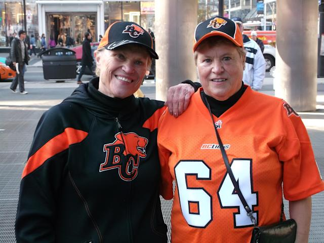 Cousins and B.C. Lions fans Carol Poole (left) and Val Reid (right)