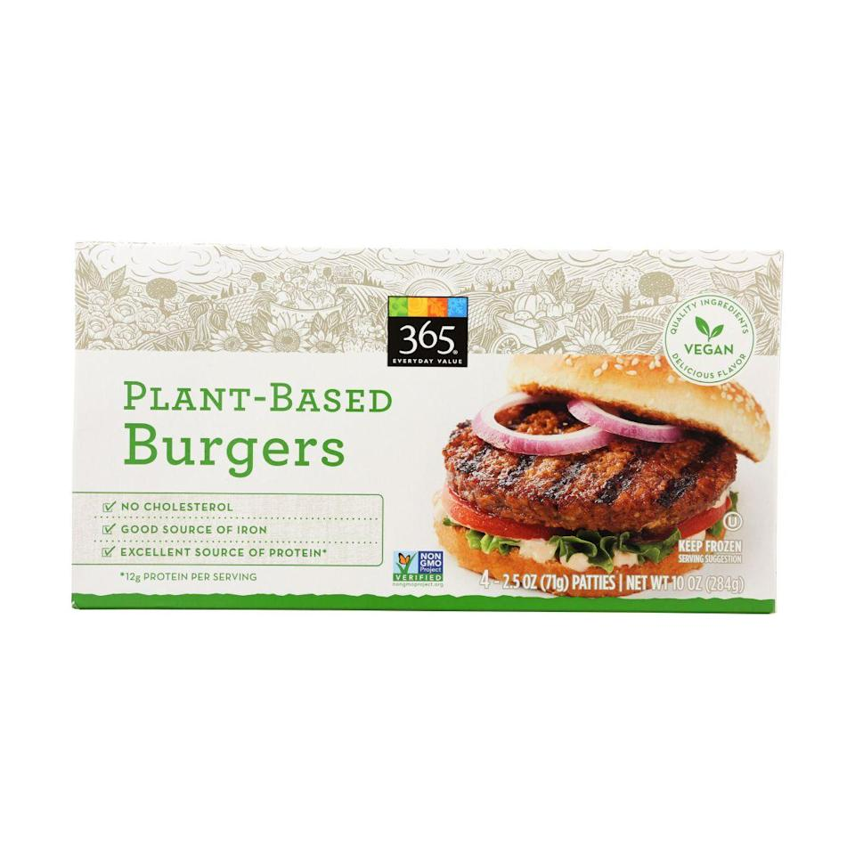 "<p><strong>365 Everyday Value</strong></p><p>wholefoodsmarket.com</p><p><a href=""https://products.wholefoodsmarket.com/product/365-everyday-value-plant-based-burgers-fce0ea"" rel=""nofollow noopener"" target=""_blank"" data-ylk=""slk:BUY NOW"" class=""link rapid-noclick-resp"">BUY NOW</a></p><p>365 Everyday Value is Whole Foods' house brand, although these soy-based burgers taste anything but generic. Credit the double umami whammy of mushroom powder and soy sauce.</p>"