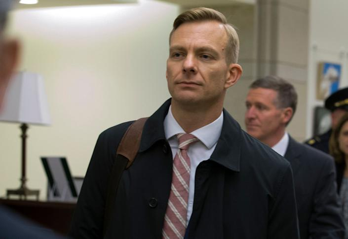 David Holmes, a career diplomat and the political counselor at the U.S. Embassy in Ukraine, leaves the Capitol on Friday after a deposition before congressional lawmakers as part of the House impeachment inquiry. (Photo: Jose Luis Magana/ASSOCIATED PRESS)