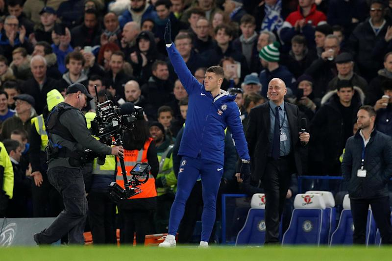 New Blue | Ross Barkley waves at Chelsea fans after being presented at Stamford Bridge: Action Images via Reuters