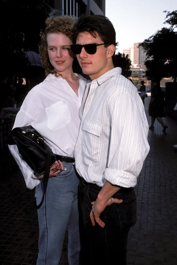 With her then boyfriend Tom Cruise, debuting their relationship in Los Angeles in 1990