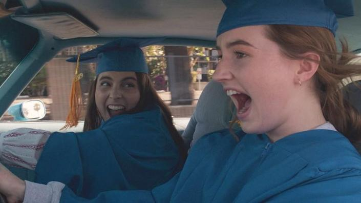 """Beanie Feldstein, left, stars as Molly and Kaitlyn Dever as Amy in Olivia Wilde's directorial debut, """"Booksmart."""" The 2020 GLAAD Studio Responsibility Index (SRI) report lauded the movie for featuring a lesbian lead with a prominent identity. <span class=""""copyright"""">(Annapurna Pictures)</span>"""