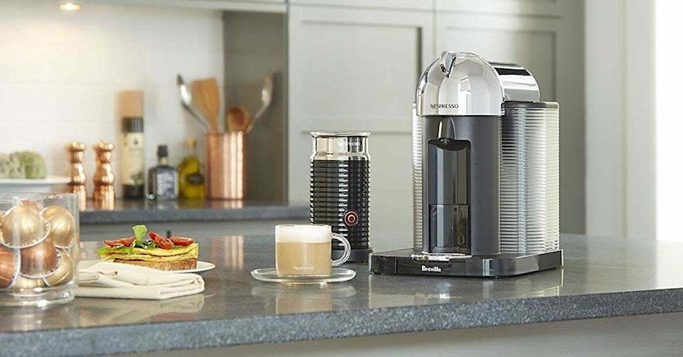 """This will save you counter space — and money, if you're used to hitting up your local coffee shop for high-quality espressos and coffees. It comes with a milk frother, so say hello to delicious lattes and cappuccinos, too.<br /><br /><strong>Promising review:</strong>""""We are impressed! I am on my second cappuccino as I write this review. The coffee is rich, creamy and so flavorful! The machine is very easy to use, convenient, and gives you an aromatic and very delicious cup of coffee in just a couple of minutes. It's a great value too. Each cup of coffee costs less than a dollar, saving you money over the competition! The milk frother is wonderful addition. Works great and adds depth and creaminess to your coffee! I just love this machine!"""" —<a href=""""https://www.amazon.com/dp/B01MZCQ4UM?tag=huffpost-bfsyndication-20&ascsubtag=5883859%2C33%2C54%2Cd%2C0%2C0%2C0%2C962%3A1%3B901%3A2%3B900%3A2%3B974%3A3%3B975%3A2%3B982%3A2%2C16464285%2C0"""" target=""""_blank"""" rel=""""noopener noreferrer"""">Renee Beckman</a><br /><strong><br />Get it from Amazon for<a href=""""https://www.amazon.com/dp/B01MZCQ4UM?tag=huffpost-bfsyndication-20&ascsubtag=5883859%2C33%2C54%2Cd%2C0%2C0%2C0%2C962%3A1%3B901%3A2%3B900%3A2%3B974%3A3%3B975%3A2%3B982%3A2%2C16464285%2C0"""" target=""""_blank"""" rel=""""noopener noreferrer"""">$139.99+</a>(available in five colors, plus options bundled with accessories or coffee pods).</strong>"""