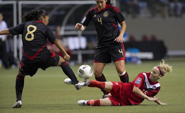 VANCOUVER, CANADA - JANUARY 27: Kelly Parker #15 of Canada tries to play the ball after falling when challenged by Marylin Diaz #8 of Mexico during the first half of semifinals action of the 2012 CONCACAF Women's Olympic Qualifying Tournament at BC Place on January 27, 2012 in Vancouver, British Columbia, Canada. (Photo by Rich Lam/Getty Images)