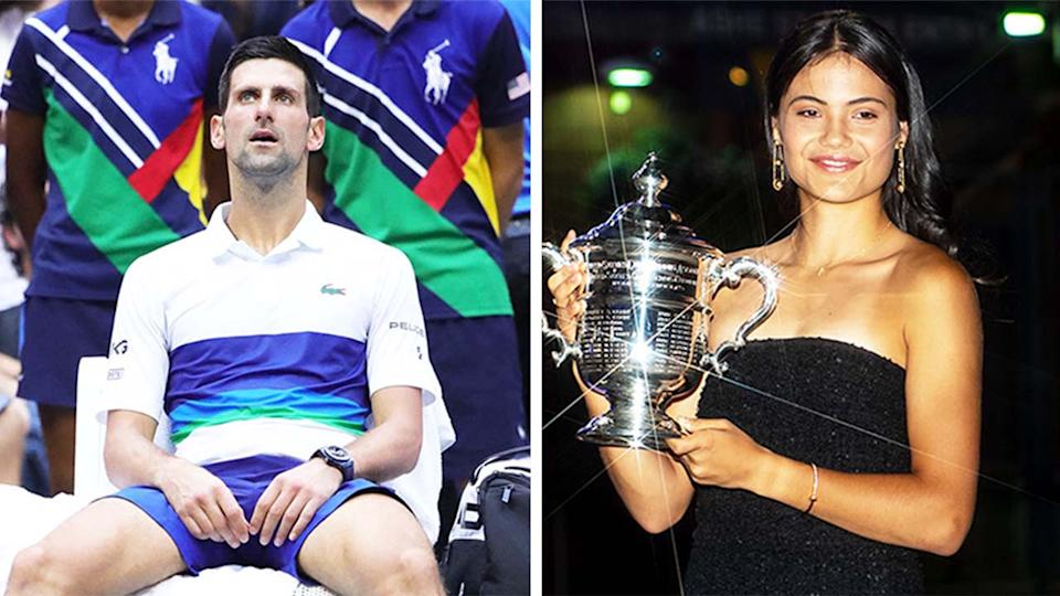 Emma Raducanu (pictured) holding her US Open final trophy and (pictured left) Novak Djokovic disappointed.